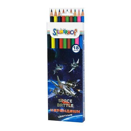 Карандаши цветные Silwerhof Space battle 18 цветов