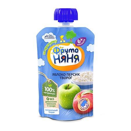 Пюре ФрутоНяня из яблок и персиков с творогом 90 г с 6 месяцев