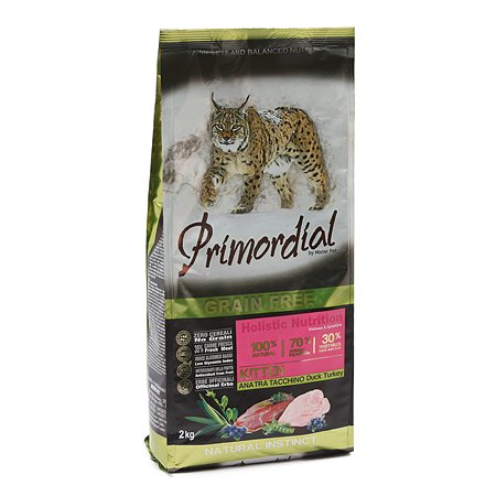 Корм сухой для котят Primordial 2кг беззерновой утка-индейка