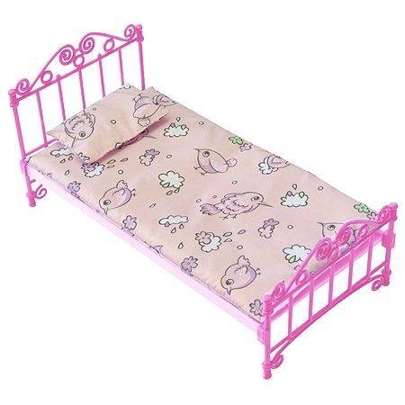 Кроватка Огонек с бельем Розовая С-1427