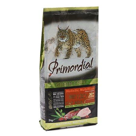 Корм сухой для кошек Primordial 2кг беззерновой утка-индейка