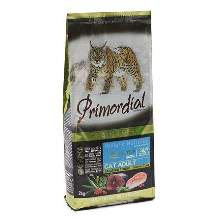 Корм сухой для кошек Primordial 2кг беззерновой лосось-тунец
