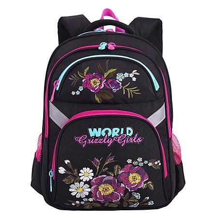 Рюкзак Grizzly 4 Цветка для девочек Черный
