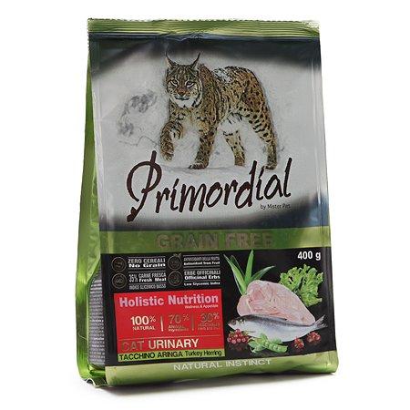 Корм сухой для кошек Primordial 400г беззерновой индейка-сельдь МКБ