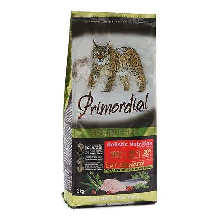 Корм сухой для кошек Primordial 2кг беззерновой индейка-сельдь МКБ