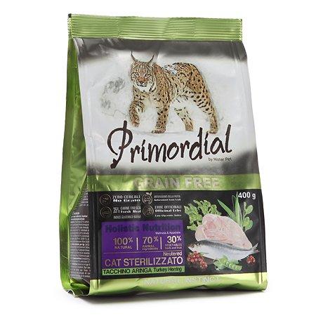 Корм сухой для кошек Primordial 400г беззерновой индейка-сельдь стерилизованных