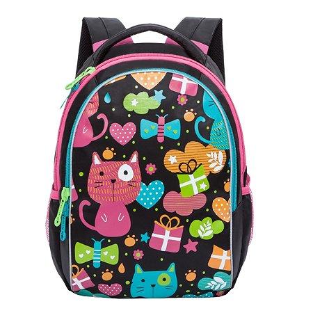 Рюкзак Grizzly Веселый кот для девочек Черный