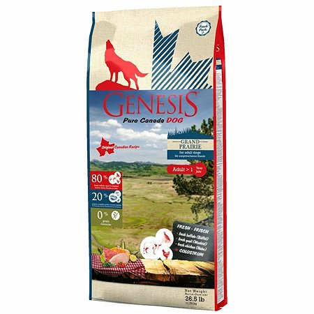 Корм для собак Genesis Pure Canada Grand Prairie Adult с курицей буйволом и перепелками 11.79кг