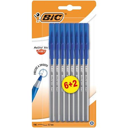 Набор ручек BIC шариковых Round Stic Exact синий 6+2 штуки