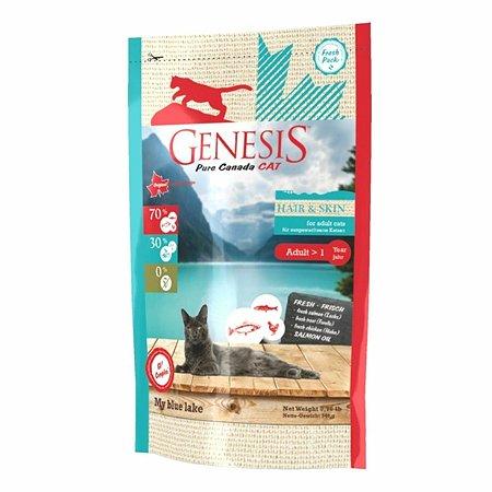 Корм для кошек Genesis Pure Canada My Blue Lake Hair Skin с лососем форелью и курицей 340г