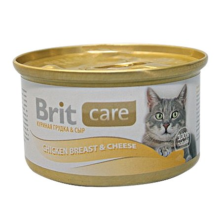 Корм влажный для кошек Brit Care 80г с куриной грудкой и сыром консервированный