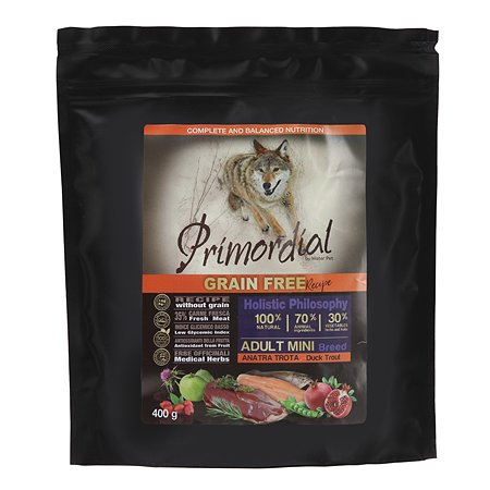 Корм для собак Primordial мелких пород беззерновой форель-утка 400г