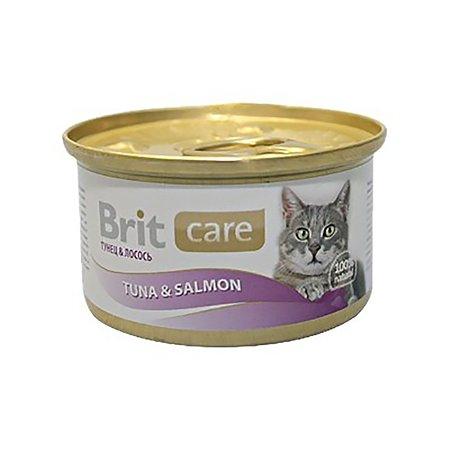 Корм влажный для кошек Brit Care 80г с тунцом и лососем консервированный