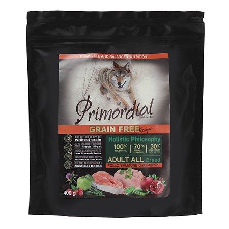 Корм для собак Primordial беззерновой курица-лосось 400г