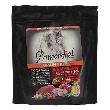 Корм для собак Primordial беззерновой буйвол-скумбрия 400г