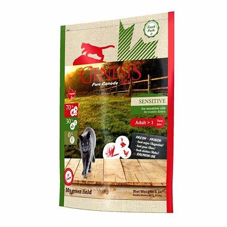 Корм для кошек Genesis Pure Canada My Green Field Sensitive сговядиной.гусем и курицей 2.268кг
