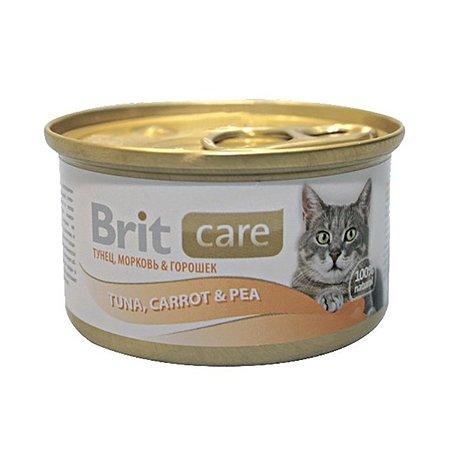 Корм влажный для кошек Brit Care 80г с тунцом морковью и горошком консервированный
