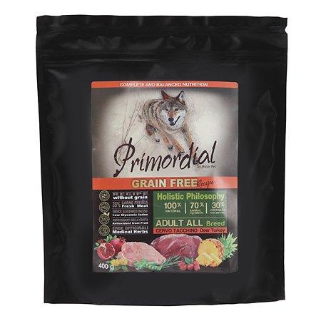 Корм для собак Primordial беззерновой оленина-индейка 400г
