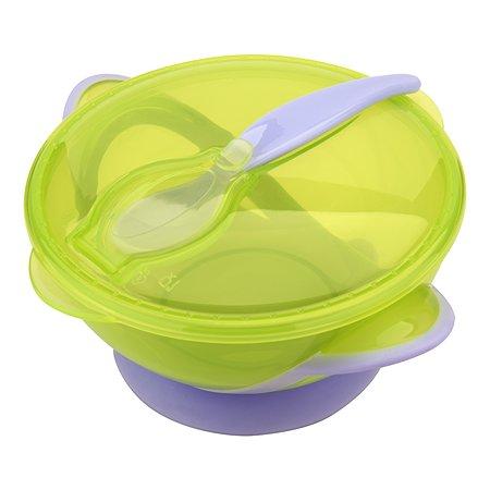 Тарелочка-контейнер Мир Детства на присоске с ложкой