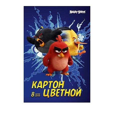 Картон цветной Академия Холдинг 8цв 8л ANGRY BIRDS
