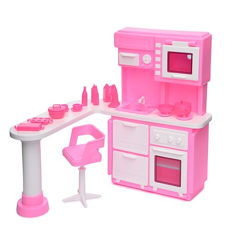 Кухня Огонек для куклы Розовая