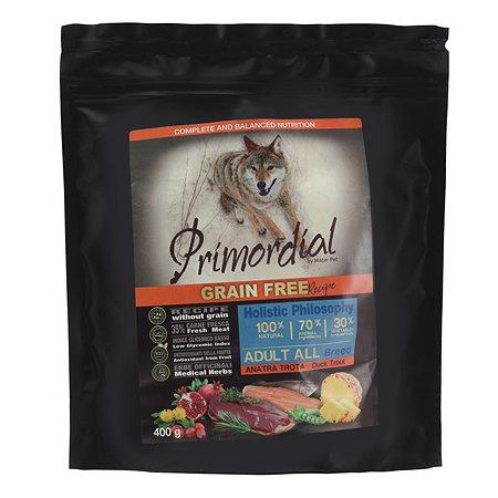 Корм для собак Primordial беззерновой форель-утка 400г