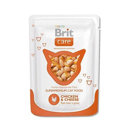 Корм влажный для кошек Brit Care 80г с курицей и сыром пауч