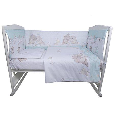 Комплект постельного белья Эдельвейс Птички 4предмета Зеленый 10491