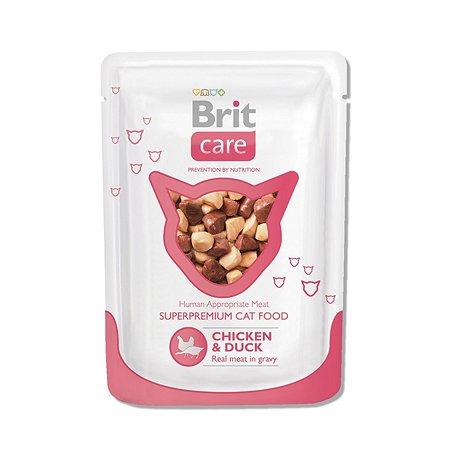 Корм влажный для кошек Brit Care 80г с курицей и уткой пауч