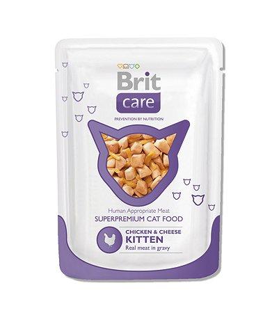 Корм влажный для котят Brit Care 80г с курицей и сыром пауч