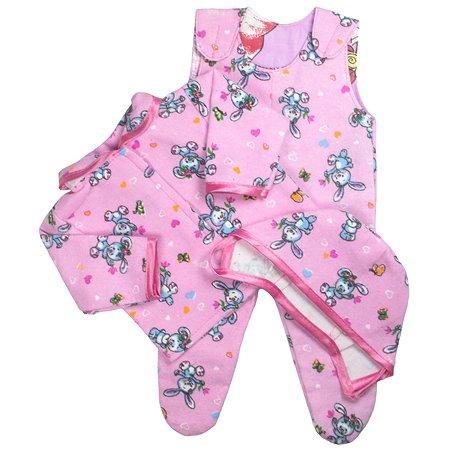Комплект одежды Модница Комплект для пупса 43 см из фланели: ползунки, распашонка и чепчик в ассортименте