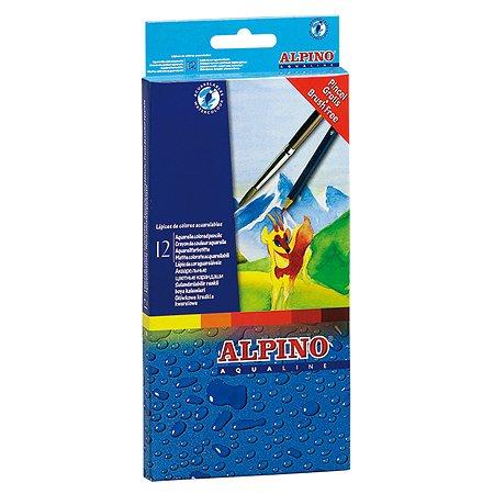 Карандаши ALPINO цветные шестигранные акварельные AQUALINE 12 цв. кисточка