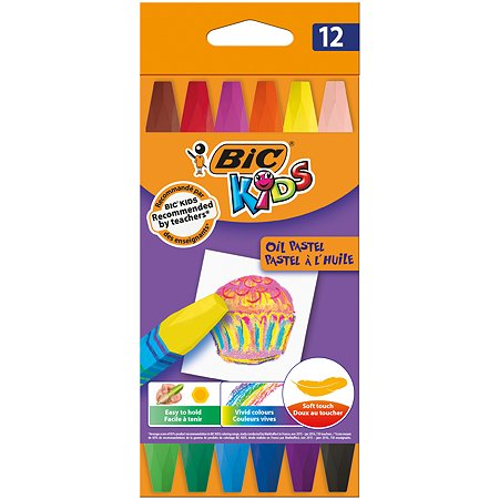 Мелки цветные BIC Kids Пастель масляная 12 цв