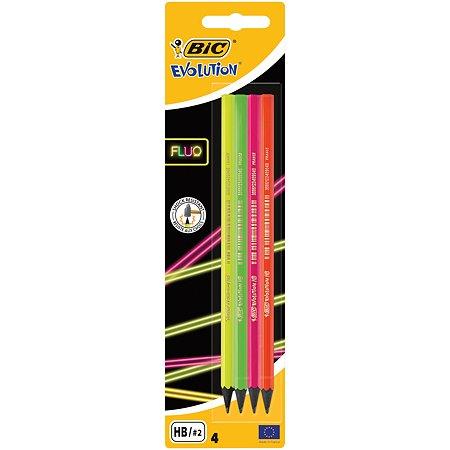 Набор карандашей BIC Evolution Fluo 4 штуки