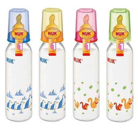 Бутылочка Nuk стеклянная 250 мл + соска с рождения в ассортименте