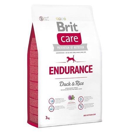 Корм для собак Brit Care всех пород ведущих активный образ жизни с уткой и рисом сухой 3кг
