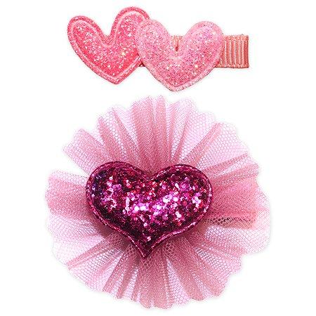 Набор зажимов для волос B&H Сердца+сердце 2шт W0016