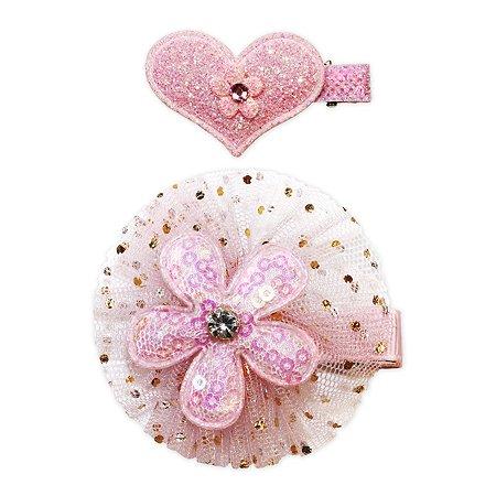 Набор зажимов для волос B&H Сердце+цветочек 2шт W0015