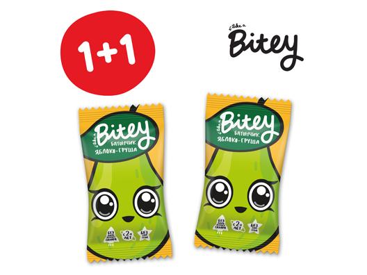 Акция 1+1 на батончик Bitey яблоко-груша